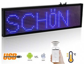 Led message board with WiFi - blue 34cm x 9,6 cm
