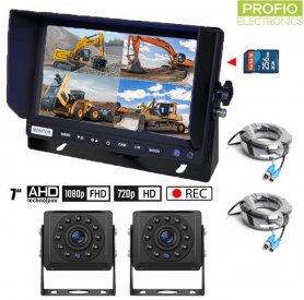 """กล้องถอยหลังรถยนต์ SET พร้อมบันทึกการ์ด SD - กล้อง HD 2x + จอภาพ AHD Hybrid 7"""" 1x"""