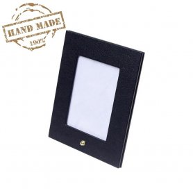 Picture frame stand - luxury leather photo holder black 21,5x17,5 cm