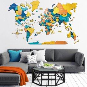 Mapa de parede colorido decoração 3D em madeira - NASCER DO SOL 150 cm x 90 cm