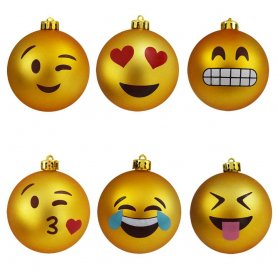 Vánoční koule Emoji (Emotikon) 6ks - originální vánoční ozdoby na stromeček