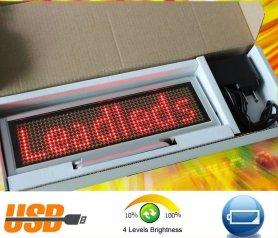 Affichage LED interactif avec diapositives 22x7,6 cm - rouge