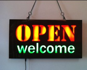"LED light panel ""OPEN welcome"" 43 cm x 23 cm"