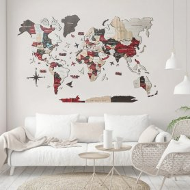 Mapa-múndi 3D exclusivo feito de madeira - URBAN 300 cm x 175 cm
