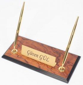Pojemnik na długopisy - Luksusowe stojaki na długopisy Rosewood ze złotą tabliczką z imieniem + 2 złote długopisy