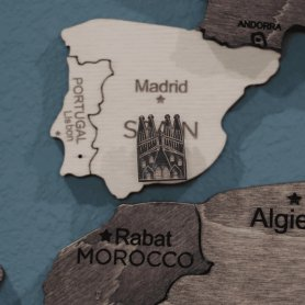 Világemlékek 15db - csapok fa térképeken