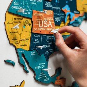 Mapa mundial 3D de madeira na parede - NASCER DO SOL 100 x 60 cm
