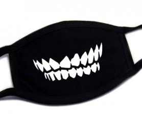 Protective face mask 100% cotton - pattern Teeth