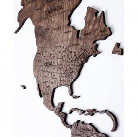 Fali térkép - színes sötét dió 100 cm x 60 cm