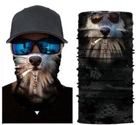 面白い3Dデザイン-顔バラクラバラスタスモーキングドッグ
