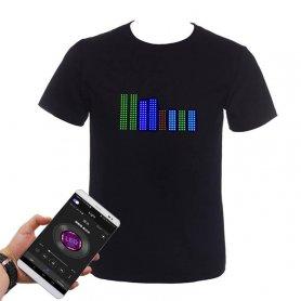 Programowalna koszulka LED RGB Color Gluwy za pośrednictwem smartfona (iOS/Android) - wielokolorowa