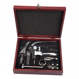 Luxurious wooden gift box with wine set