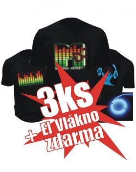 Led trička Akce - 3ks Tričko + 1ks el vlákno zdarma