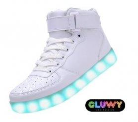 Fehér LED-cipő cipők - App változtatni színét a telefonra
