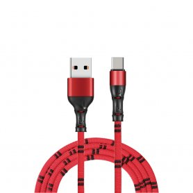 USB Type C - USB cable for mobile phone in Bamboo design and 1 m length
