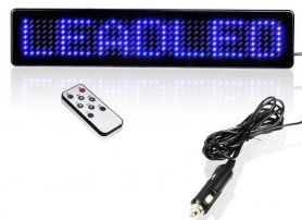 Car LED display blue with remote control 23 x 5 x 1 cm, 12V
