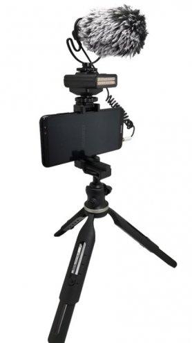 Állvány vloggerek számára - SET okostelefonhoz LED-es lámpával és külső mikrofonnal
