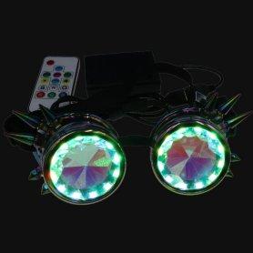 Ochelari Steampunk luminoși LED caleidoscopici culoare RGB + telecomandă