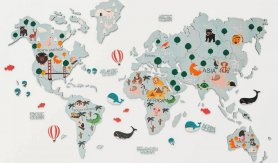 World map for children 2D wood map with animals on the wall - BLUE 200x120cm