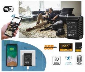 USB-vmesnik (polnilnik) vohun kamere z WiFi + FULL HD + IR vid 6m + zaznavanje gibanja