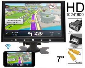 """7 """"Mirror Link WiFi LCD monitor do auta multifunkční - VGA, HDMI a AV vstup pro 2 kamery"""