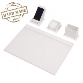 Leather desk set for Office - set of 4 pcs: White Leather - Hand Made