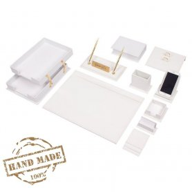Luxury leather SET 14 pcs for office in white leather (Hand Made)