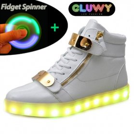 Flashing LED Shoes - White and gold