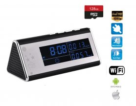 Alarm clock with FULL HD WIFI camera and air quality monitoring + 4IR LED + 128GB micro sd support