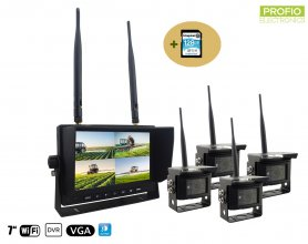 "Wireless rear camera with monitor - 4x camera + 7"" LCD with DVR (Audio + Video) + 128GB SDXC Card"