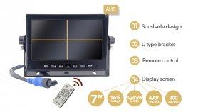"""Parkovací kamera set AHD LCD HD monitor do auta 7 """"+ 1x HD kamera s 18 IR LED"""