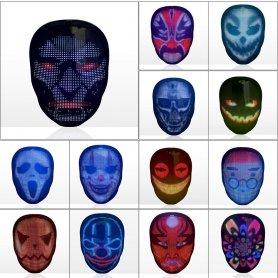 Máscara LED de rostro completo bluetooth - animación programable (aplicación para teléfono inteligente)