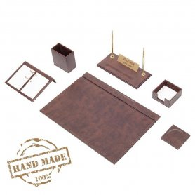 Office accessories - SET 8pcs - Luxury brown leather (Hand Made)