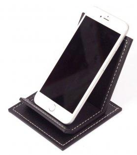 Mobilny stojak - luksusowy skórzany stojak na smartfona w kolorze czarnym