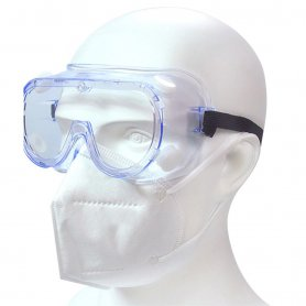 Transparent protection glasses fully closed with valves + Anti-fog