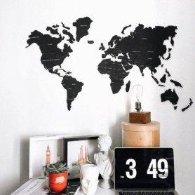 Мандрівна дерев'яна карта на стіні - кольорова чорна 150 см х 90 см