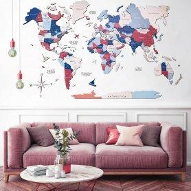 Mapa-múndi de madeira na parede 3D - URBAN 100x60cm