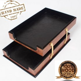 Office tray - wooden document tray rosewood with leather (Handmade)