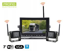 "Umkehren Autokamera-Set - WiFi 7 ""LED-Monitor + 2x Wireless-Kamera"