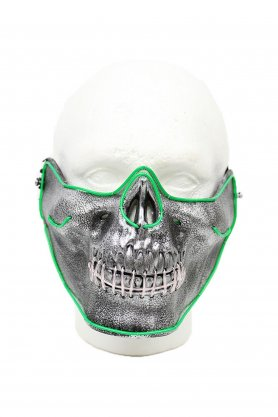 LED party mask - green skull