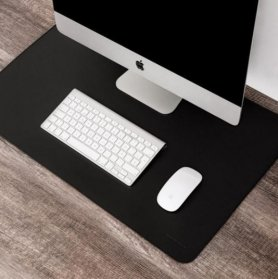 Podložka pod PC + Myš - Kožená čierna luxusná 55x35 cm - SET 3 ks
