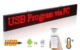 LED WiFi board with scrolling text - red 82 x 9,6 cm