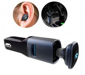 Car charger with Bluetooth headset + USB port + 3,5 mm audio output