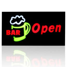 "Panel LED promocional con la descripción ""BAR Open"" 43 cm x 23 cm"