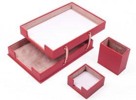 Zestaw podkładek na biurko dla kobiet 10szt. (Czerwona Skóra) - Ręcznie robiony