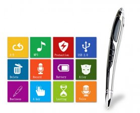 Digital voice recorder in elegant pen 16GB + sound detection recording