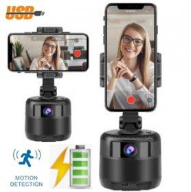 Tempat selfie - Tripod berputar otomatis pintar untuk ponsel + webcam 2MP