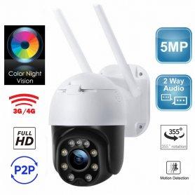 กล้อง 3G/4G (SIM) แพนเอียง 355 ° หมุน HD IP 5MP- 5xzoom + การตรวจจับ + การมองเห็นตอนกลางคืน + เสียงสองทาง