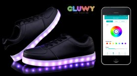 LED glowing black sneakers - a mobile application to change colors