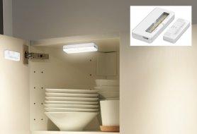 LED-es fények a szekrénybe 2 db-os csomag + mágneses érzékelő + Li-on elem